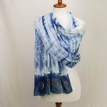 Load image into Gallery viewer, Eternity Hand dyed Indigo Blue Cotton Scarf with OM symbol