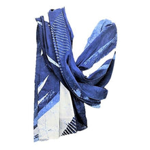 Load image into Gallery viewer, Serenity Indigo long luxurious cotton handprinted scarf