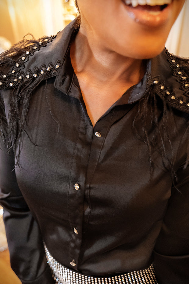 Ms. Bling 'Em Blouse - Black