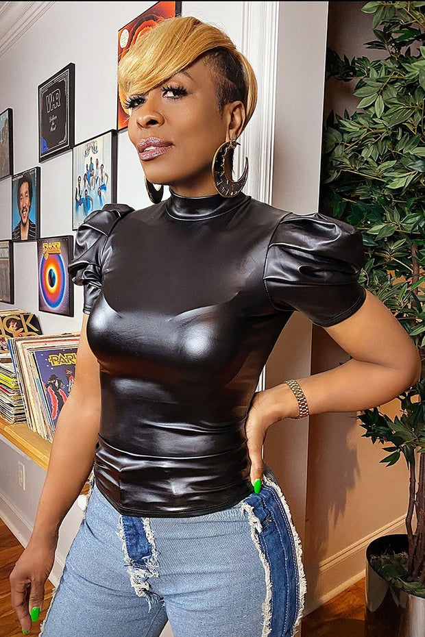 Black Candy Leather Puff Top - Gritty Soul
