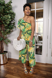 Cardi Safari One Shoulder Jumpsuit - Gritty Soul Apparel