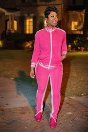 Cold Shoulder Tracksuit Featherweight Edition - Pink - Gritty Soul