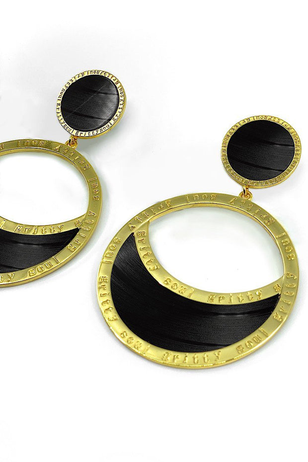 Donna Stunners Vinyl Record Earrings - Gold - Gritty Soul