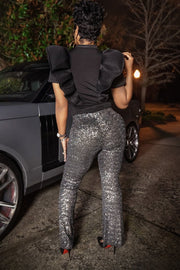 Madame Platinum Sequin Pant - Gritty Soul Apparel