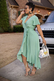 Mint Hot Polka Dot Dress - Gritty Soul Apparel