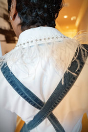 Ms. Bling 'Em Blouse - White - Gritty Soul Apparel