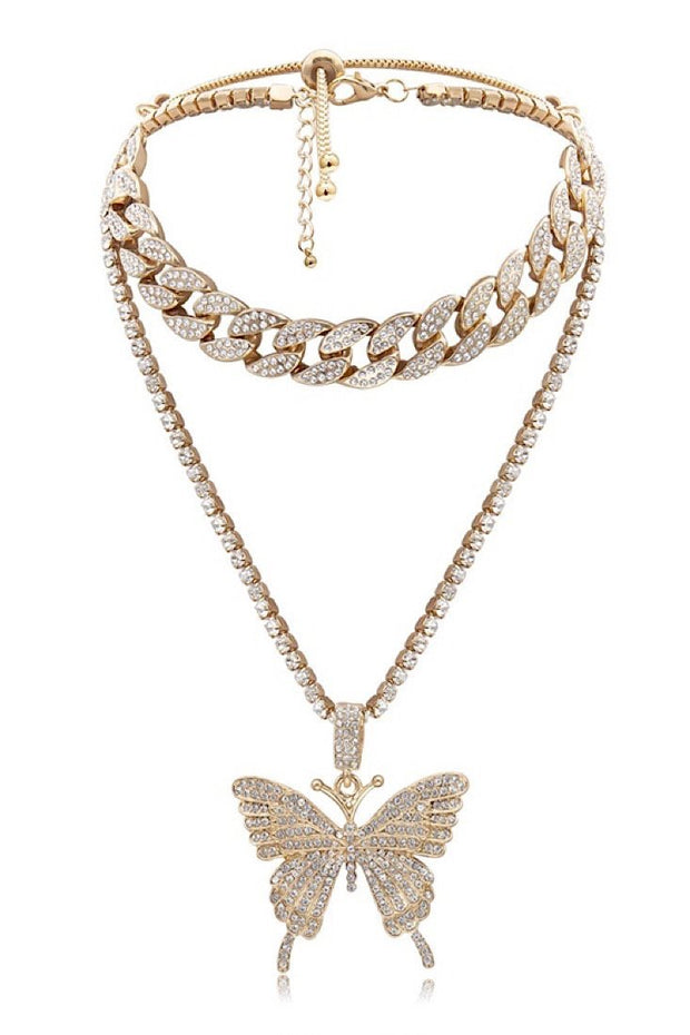My Butterfly Double Chain Necklace - Gritty Soul