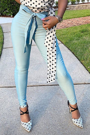 Penelope High Wasted Pencil Pant - Milky Blue - Gritty Soul