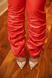 Scrunch-Funk Vinyl Pant - Red - Gritty Soul Apparel