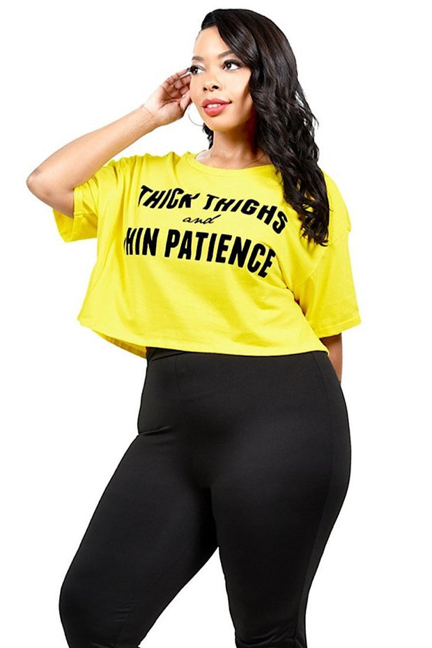 Thick-Thighs-Thin-Patience Crop Top - Yellow - Gritty Soul