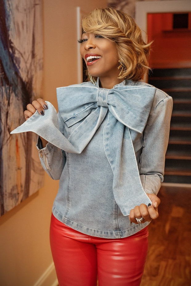 Throw Dem Bows Denim Top - Gritty Soul Apparel
