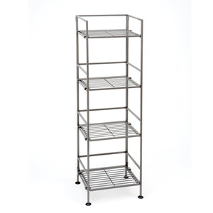 4-TIER IRON BAR SQUARE TOWER SHELVING, SATIN PEWTER
