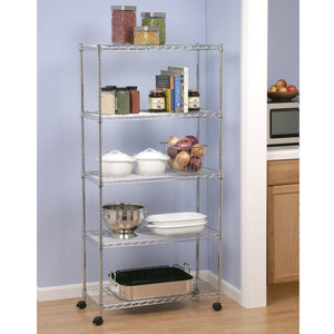 "5-TIER STEEL WIRE SHELVING WITH WHEELS, 30"" W X 14"" D X 60"" H"