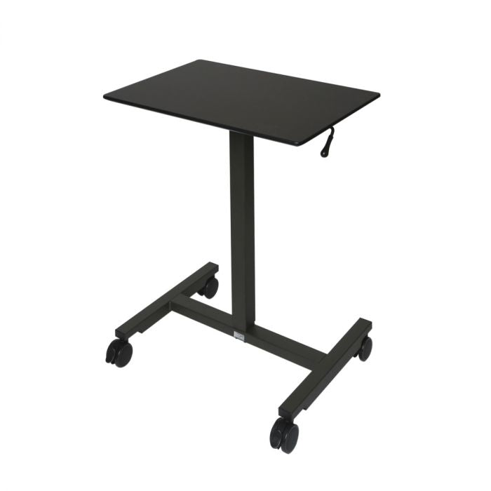 AIRLIFT PNEUMATIC LAPTOP COMPUTER SIT-STAND MOBILE DESK CART HEIGHT-ADJUSTABLE, BLACK