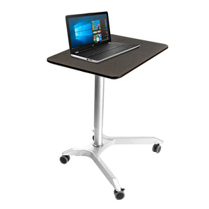AIRLIFT XL PNEUMATIC SIT-STAND MOBILE DESK CART, HEIGHT-ADJUSTABLE, ESPRESSO