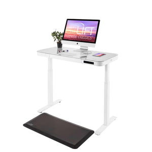 AIRLIFT HEIGHT ADJUSTABLE ELECTRIC DESK WITH GLASS TOP + DUAL USB CHARGER, WHITE