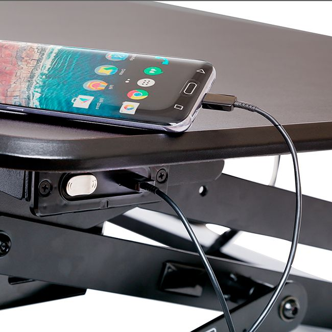 "AIRLIFT 35.4"" ELECTRIC HEIGHT ADJUSTABLE DESK CONVERTER WITH USB CHARGER"