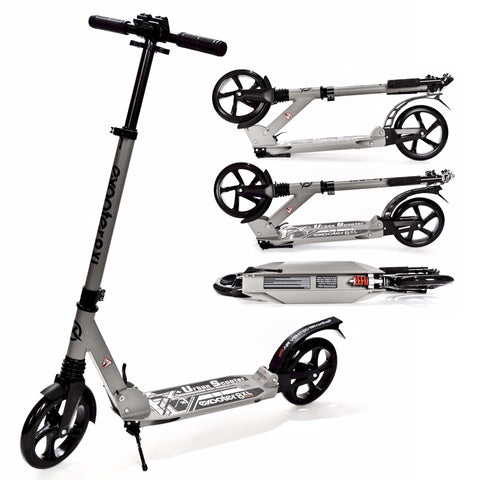 EXOOTER M1350CH Urban 8XL Adult Cruiser Kick Scooter With Suspension Shocks In Charcoal.