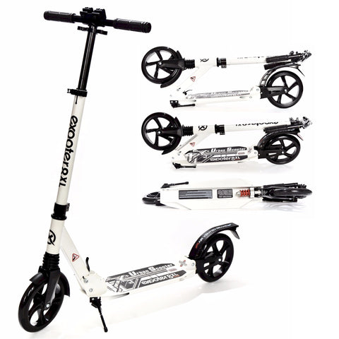 EXOOTER M1350WT Urban 8XL Adult Cruiser Kick Scooter With Suspension Shocks In White.