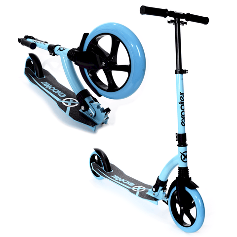 EXOOTER M1550BB 6XL Adult Kick Scooter With Front Shocks And 180mm/240mm Wheels In Vibrant Blue.