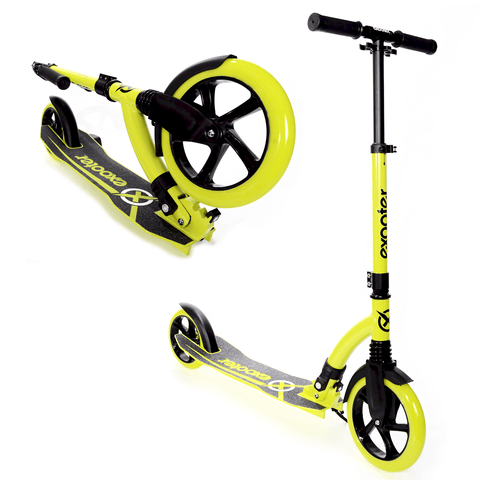 EXOOTER M1550BG 6XL Adult Kick Scooter With Front Shocks And 180mm/240mm Wheels In Vibrant Green.