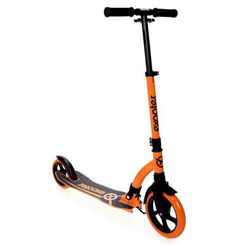 EXOOTER M1550BO 6XL Adult Kick Scooter With Front Shocks And 180mm/240mm Wheels In Vibrant Orange.