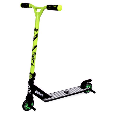 EXOOTER M1650GN Kids Trick Scooter With 110mm Alloy Wheels In Green And Black.