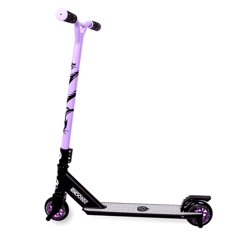EXOOTER M1650PL Kids Trick Scooter With 110mm Alloy Wheels In Purple And Black.