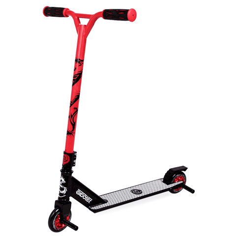 EXOOTER M1650RD Kids Trick Scooter With 110mm Alloy Wheels In Red And Black.