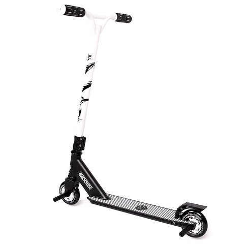 EXOOTER M1650WT Kids Trick Scooter With 110mm Alloy Wheels In Black And White.