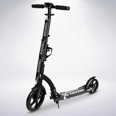 EXOOTER M1850BB 6XL Adult Kick Scooter With Front Shocks And 240mm/180mm Black Wheels In Black Finish.