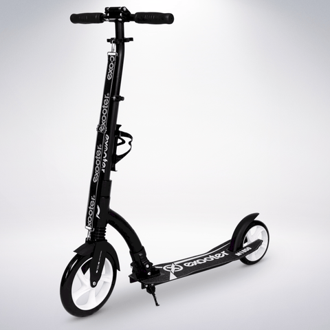 EXOOTER M1850BW 6XL Adult Kick Scooter With Front Shocks And 240mm/180mm White Wheels In Black Finish.