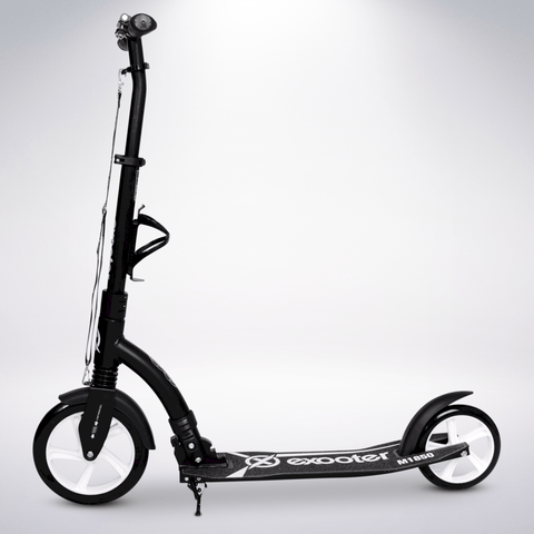EXOOTER M1850BW 6XL Adult Kick Scooter With Front Shocks And 240mm/180mm White Wheels In Black.