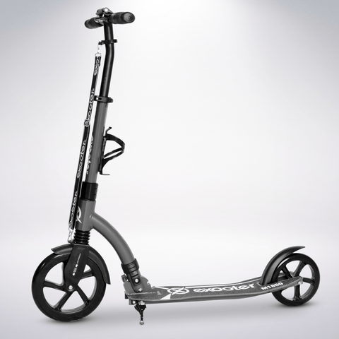 EXOOTER M1850CB 6XL Adult Kick Scooter With Front Shocks And 240mm/180mm Black Wheels In Charcoal.