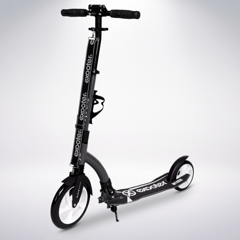 EXOOTER M1850CW 6XL Adult Kick Scooter With Front Shocks And 240mm/180mm White Wheels In Charcoal.