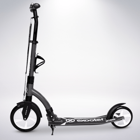 EXOOTER M1850CW 6XL Adult Kick Scooter With Front Shocks And 240mm/180mm White Wheels In Charcoal Finish.