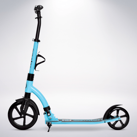 EXOOTER M1850VB 6XL Adult Kick Scooter With Front Shocks And 240mm/180mm Wheels In Vibrant Blue Finish.
