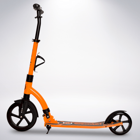EXOOTER M1850VO 6XL Adult Kick Scooter With Front Shocks And 240mm/180mm Wheels In Vibrant Orange Finish.