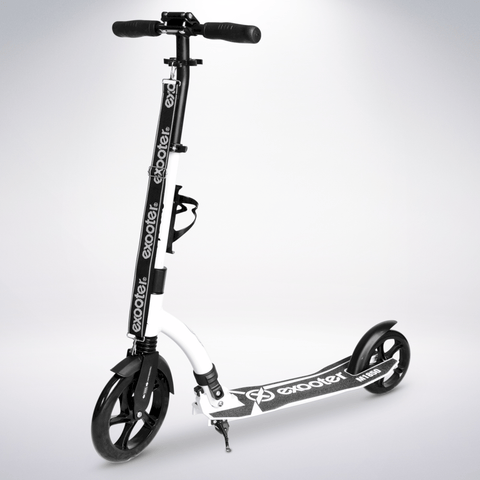 EXOOTER M1850WB 6XL Adult Kick Scooter With Front Shocks And 240mm/180mm Black Wheels In White.