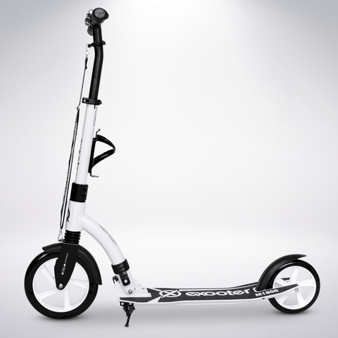 EXOOTER M1850WW 6XL Adult Kick Scooter With Front Shocks And 240mm/180mm White Wheels In White.