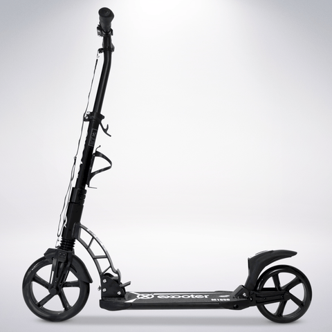 EXOOTER M1950BK 8XL Adult Kick Scooter With Dual Suspension Shocks And 240mm/200mm Wheels In Black.