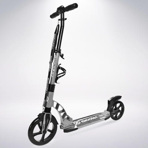 EXOOTER M1950GR 8XL Adult Kick Scooter With Dual Suspension Shocks And 240mm/200mm Wheels In Gray.