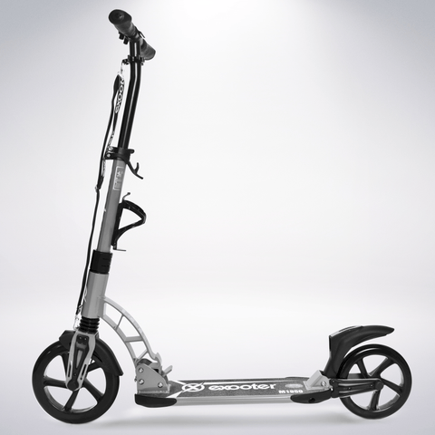 EXOOTER M1950GR 8XL Adult Kick Scooter With Suspension Shocks And 240mm/200mm Wheels In Gray.