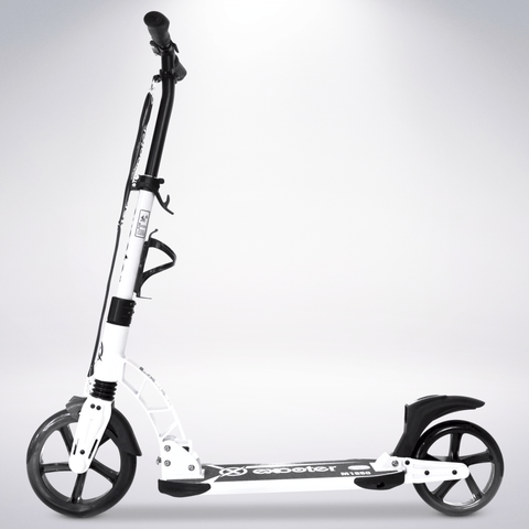 EXOOTER M1950WT 8XL Adult Kick Scooter With Dual Suspension Shocks And 240mm/200mm Wheels In White.