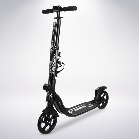 EXOOTER M2050BB 9XL Adult Cruiser Kick Scooter With Dual Suspension Shocks And 200mm Black Wheels In Black Finish.