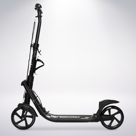 EXOOTER M2050BK 9XL Adult Cruiser Scooter With Dual Suspension Shocks And 200mm Wheels In Black.