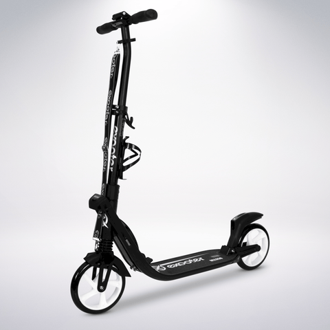 EXOOTER M2050BW 9XL Adult Cruiser Kick Scooter With Dual Suspension Shocks And 200mm White Wheels In Black Finish.