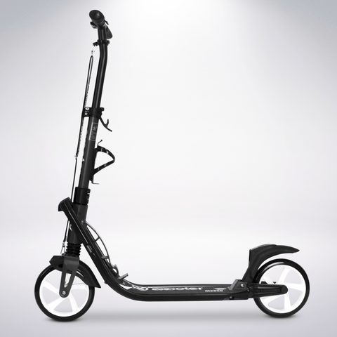 EXOOTER M2050CW 9XL Adult Cruiser Kick Scooter With Dual Suspension Shocks And 200mm White Wheels In Charcoal Finish.