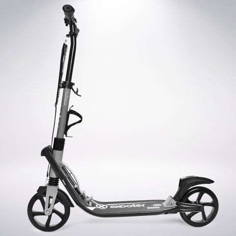 EXOOTER M2050GR 9XL Adult Cruiser Scooter With Dual Suspension Shocks And 200mm Wheels In Gray.