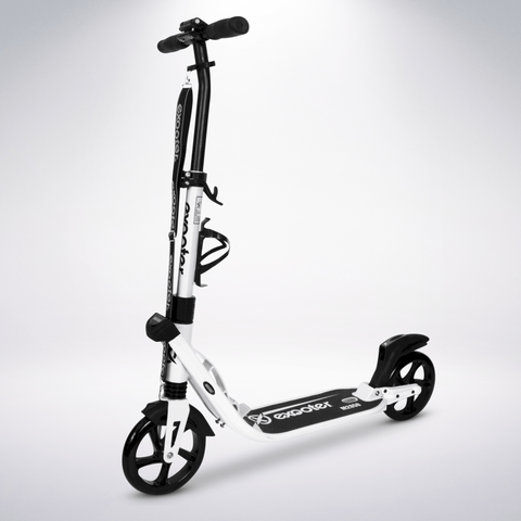 EXOOTER M2050WT 9XL Adult Cruiser Scooter With Dual Suspension Shocks And 200mm Wheels In White.